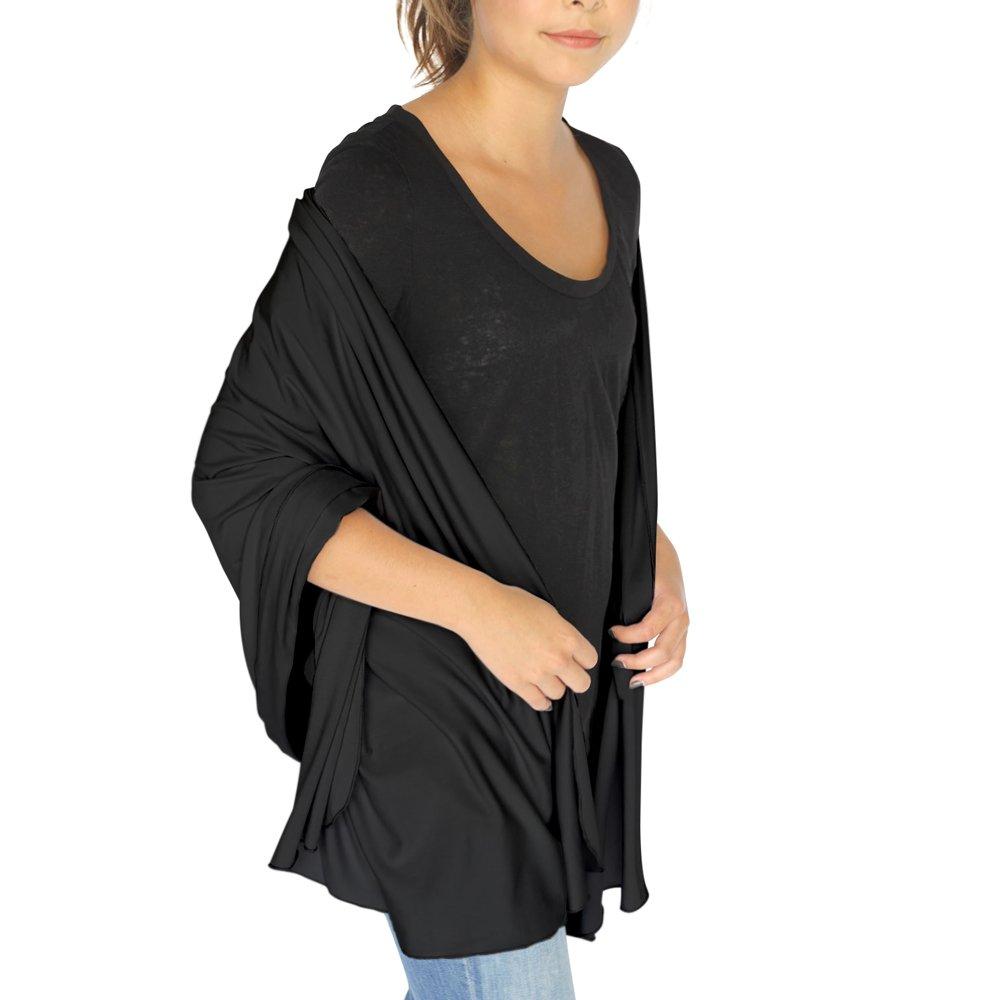 HappyLuxe Wayfarer Travel Wrap and Shawl, Cozy Travel Blanket, Built in Neck Warmer, (Jet Black)