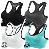 FITTIN Racerback Sports Bras - Padded Seamless High Impact Support for...