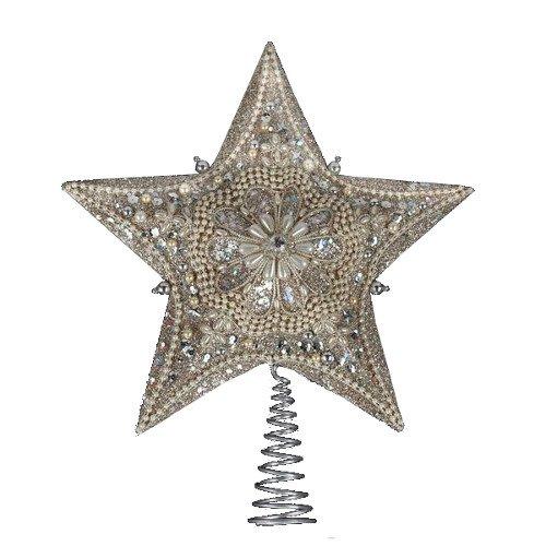 Kurt Adler 13.5-inch Star Treetop with Ivory Pearls and Platinum Glass Glitter (Glass Starfish Christmas Ornament)