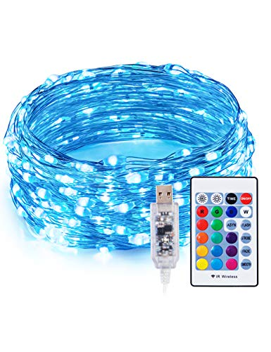 TaoTronics TT-SL213 RGB LED String Lights,Christmas Decorations Lights 33ft 100 LEDs USB Powered Dimmable Copper Wire Fairy String Lights,15 RGB Colors, 5Lighting Modes, Remote Control,IP65 Waterproof
