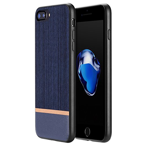 iPhone 8 Plus Case, iPhone 7 Plus Case, RANVOO [Canvas Series] Ultra Slim Thin Protective Hard Leather Cover Case for iPhone 8/7 Plus, Navy Blue