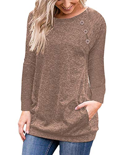 PinUp Angel Brown Women's Casual Long Sleeve Button T-Shirt Tunic Top Solid Blouse Pockets