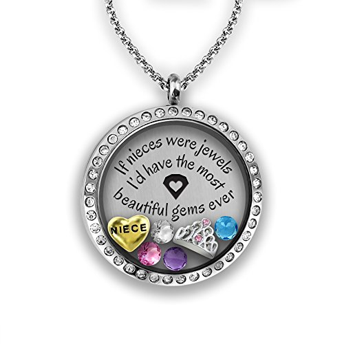 Niece Necklace | Floating Locket Necklace with Floating Locket Charms | DIY Jewelry Gifts for Girls & Teen Girl Gifts | Stainless Steel 30mm Authentic Floating Charm Locket | Memory - Color How What Tell You Looks To On Best