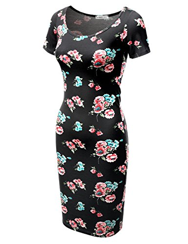 Printed Size Solid Midi Fitted Short Sleeve amp; floralmint USA Dress in Plus Bodycon Doublju Awdmd0227 Women Made XqSpyX