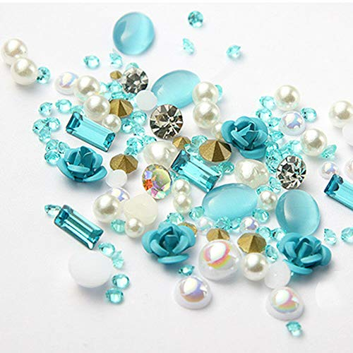 Nail Art 3D DIY Rose Jewelry Gem Mix Nail Decorations Glitter Rhinestones Beauty (Color - #11 Blue)