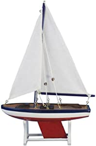 "Hampton Nautical It Floats 12"" American Floating Sailboat Hampton Nautical Model Ship, Fully Assembled (Not a Kit)"