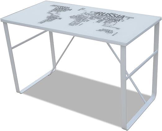 Anself - Escritorio rectangular con mapamundi impreso,vidrio+ ...