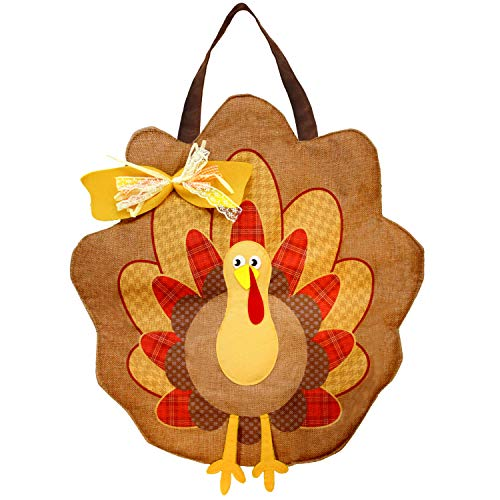JOYIN Thanksgiving Turkey Burlap Door Decorations for Autumn Wall Decoration and Fall Party Favor Supply Décor. from JOYIN
