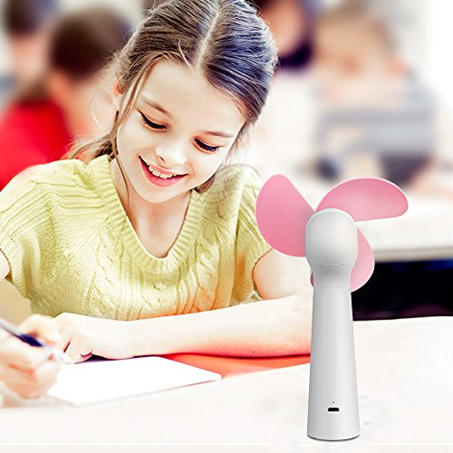 CestMall Mini Handheld Fan, USB Powered Electric Fan for Home Office Travel Camping Fishing, Soft Sponge Desk Fan for Kids (Pink) by CestMall (Image #8)
