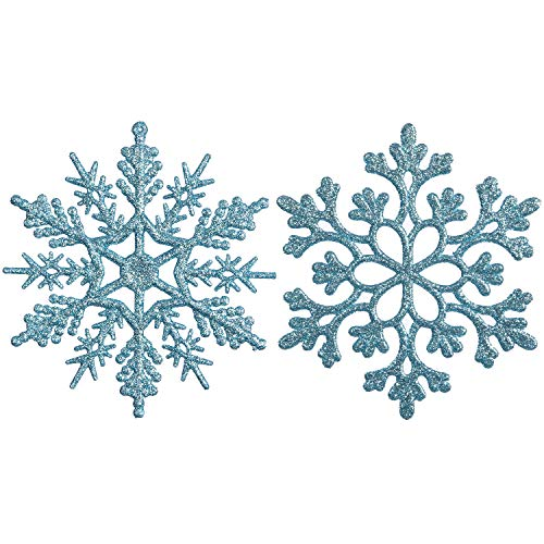 Sea Team Plastic Christmas Glitter Snowflake Ornaments Christmas Tree Decorations, 4-inch, Set of 36, Babyblue -