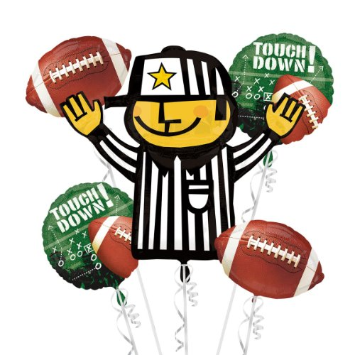 Football Frenzy Super Shape Referee 5pc Balloons Bouquet -Super Bowl Supplies]()