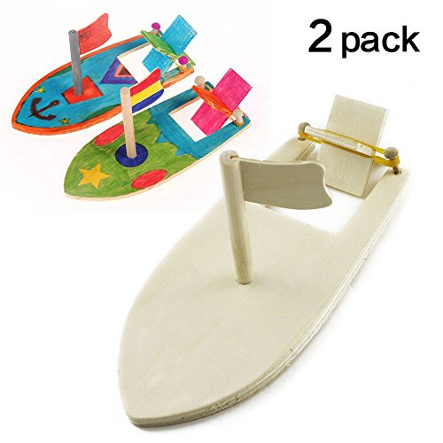 Boat Kit Wooden (TKOnline DIY Wood Sailboat Rubber Band Paddle Boat Make Your Own Wood Sailboat Craft Kits for Boys and Girls to Paint and Decorate, Pack of 2)