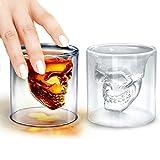 LUCKSTAR Crystal Skull Shotglass - Double Wall Transparent Skull Shot Glass Skull Pirate Shot Glass Drink Cocktail Beer Wine Cup Drinking Ware Mugs Halloween Mug For Whiskey Wine Vodka (Set of 2)