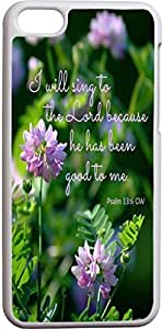 Lmf DIY phone casePsalm 13:6 GW I will sing to the lord for he has been good to me purple floral theme christian bible verses quotes theme pattern print protector cover sleeve cases for apple iphone 4/4sLmf DIY phone case