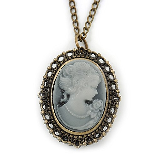 Brass Cameo Pendant/ Locket/ Watch With Long Chain - 80cm Length (Quartz Clock) (Cameo Pendant Necklace)