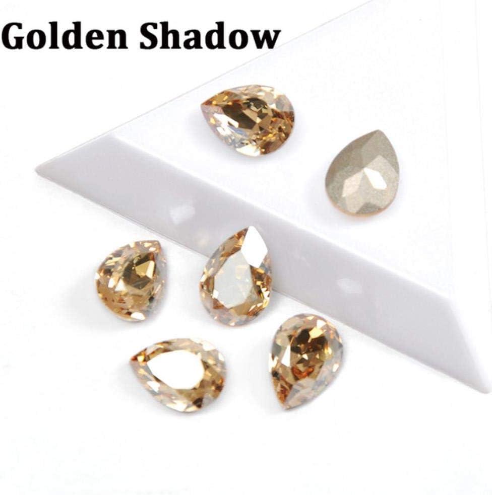 PENVEAT Diamantes de imitación de Vidrio con Garra Coser en lágrima Cristal Piedra Strass Diamante Base de Metal Hebilla Decoración de Boda DIY, Sombra Dorada, 10x14mm-12pcs
