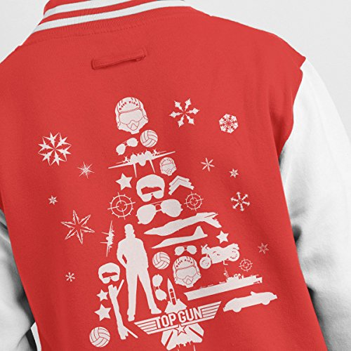 Jacket Varsity white Top Men's Christmas Tree Red Silhouette Gun x6Xq8Y