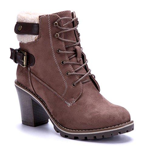 Schuhtempel24 Damen Schuhe Klassische Stiefeletten Stiefel Boots Blockabsatz Schnalle 8 cm Khaki