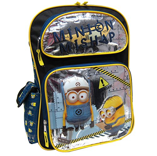 Despicable Me 3D Minion With Metallic Foil Front Pockets Kids Backpack (16-Inch)