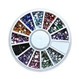 1 Set 12-Color 3D Round Acrylic Crystal Nail Art Rhinestones In Wheel Studs Glitter Decoration DIY Manicure Nails Tools Tips Kits Beauty Popular Xmas Christmas Winter Snow Holiday Tool Kit