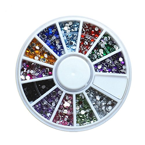 1 Set 12-Color 3D Round Acrylic Crystal Nail Art Rhinestones In Wheel Studs Glitter Decoration DIY Manicure Nails Tools Tips Kits Beauty Popular Xmas Christmas Winter Snow Holiday Tool Kit by GrandSao