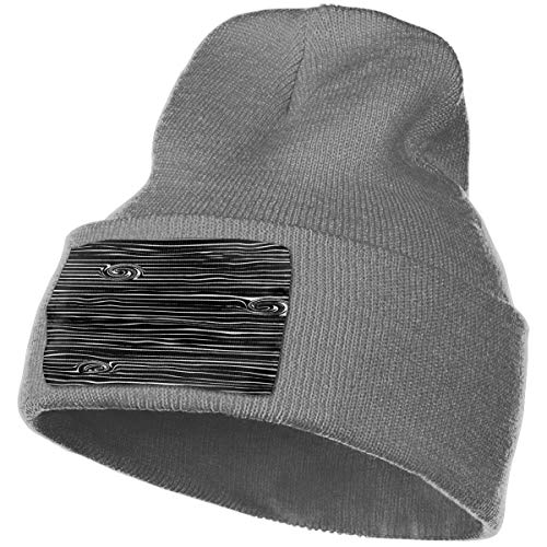 WHOO93@Y Mens and Womens 100% Acrylic Knitting Hat Cap, Woodgrain Black and White Pattern Warm Beanie -
