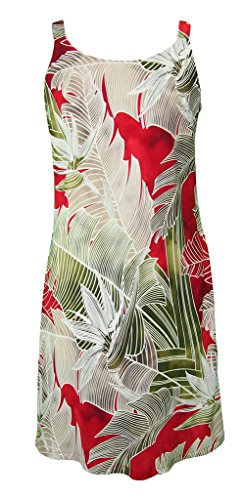 RJC Women's Kauai Plantation Short Hawaiian Bias Cut Slip Dress Red - Plantation Women