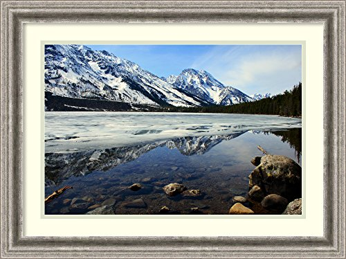 Framed Art Print 'Grand Tetons at Jenny Lake' by Andy - Grand Lake Jenny