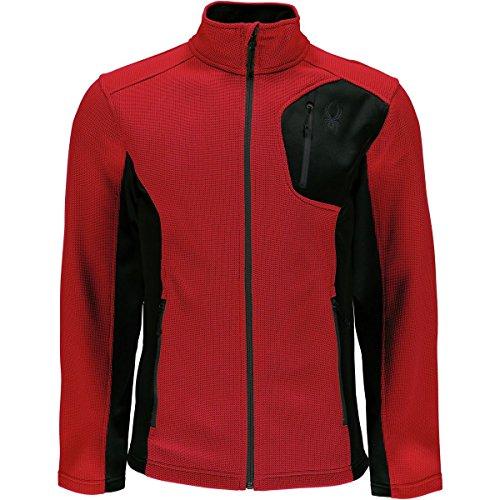Fleece Zip Mittens (Spyder Men's Bandit Full Zip Light Weight Stryke Jacket, Red/Black, Medium)