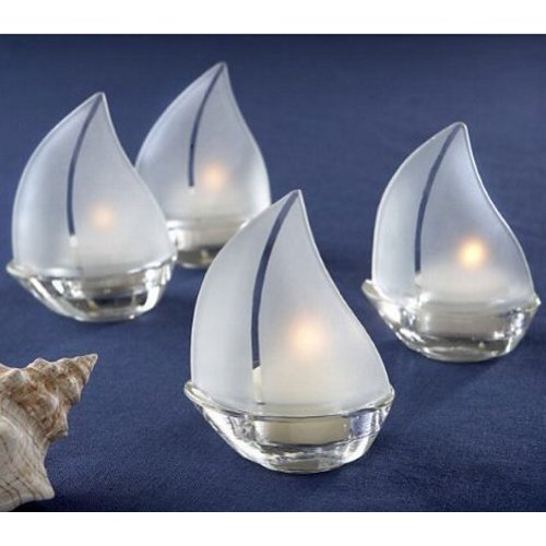 Frosted Glass Sailboat Tealight Holders - Set Sail Frosted Glass Sailboat Tealight Holders, Set of 24