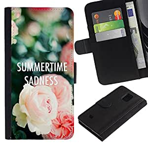 LASTONE PHONE CASE / Lujo Billetera de Cuero Caso del tirón Titular de la tarjeta Flip Carcasa Funda para Samsung Galaxy S5 Mini, SM-G800, NOT S5 REGULAR! / summertime text sadness roses deep