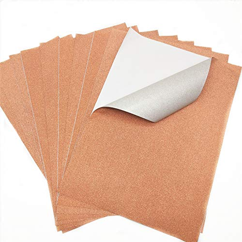 "ZAIONE 10 Sheets 8"" x 12"" (20cm x 30cm) Sparkle Fine Glitter Self Adhesive Paper Back Sticky Scrapbooking Crafts Sticker Adhesive Sheets DIY Craft Sign Vinyl Art (Copper)"