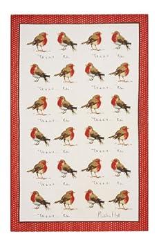 Ulster Weavers Madeleine Floyd Christmas Robins Linen Tea Towel