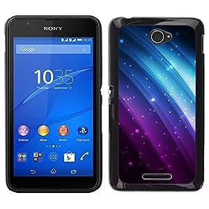Sony Xperia E4 Único Patrón Plástico Duro Fundas Cover Cubre Hard Case Cover - Glitter Purple Blue Rainbow Black Sparkle