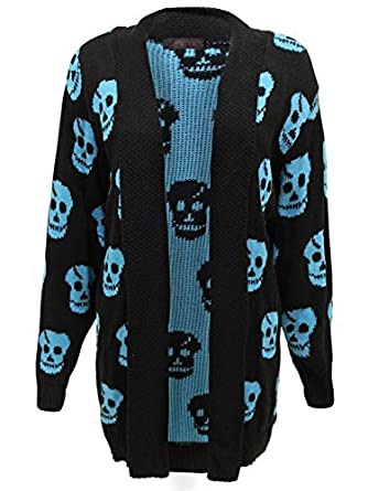 9efe9b531508a ENVY BOUTIQUE NEW WOMENS LADIES SKULL PRINT CARDIGAN WATERFALL OPEN CARDIGAN  JUMPER PLUS SIZES TURQUOISE 24