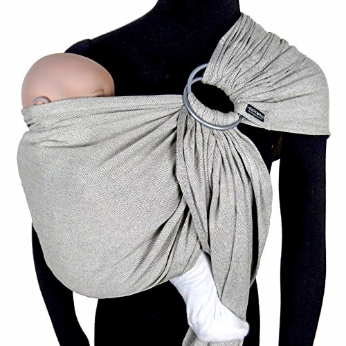 DIDYMOS DidySling Ring Sling Baby Carrier Silver (Organic Cotton), Silver Grey/Natural White, Size 1 (180 cm)