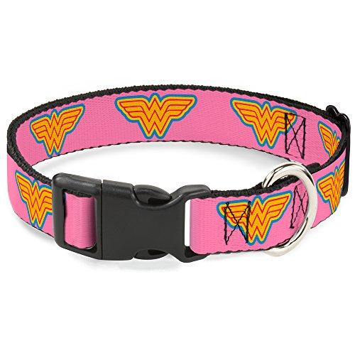 Buckle-Down Plastic Clip Collar - Wonder Woman Logo Pink/Blue/Yellow/Pink - 1