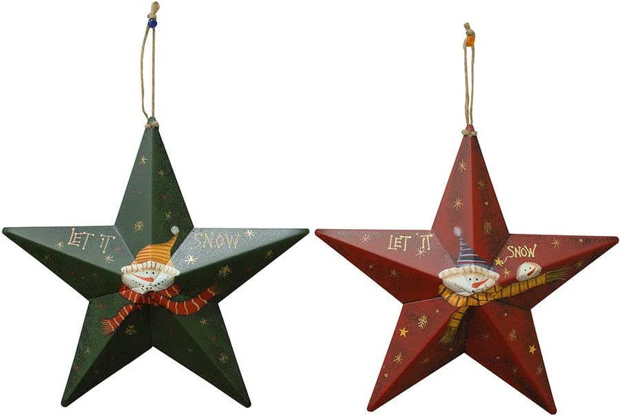 Metal Star Barn Christmas Tree Ornaments 3D Star Barn Wall Decor Hand-Painted Snowman Xmas Hanging Decoration Holiday Decor 12 inch Set of 2