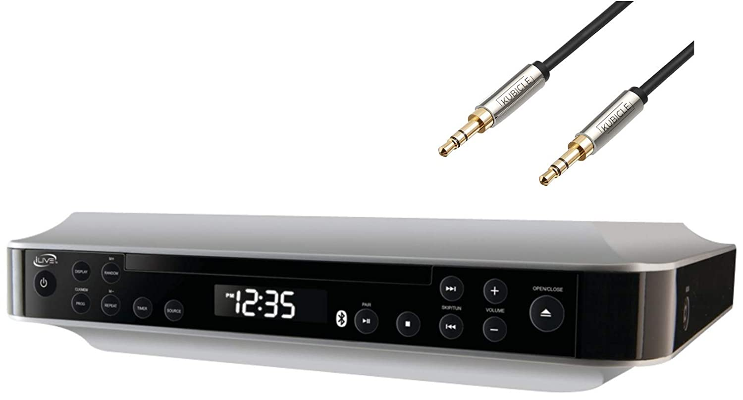 iLive Bluetooth Under The Cabinet Clock CD/Radio Wireless Speaker System Plus 6ft Kubicle Aux Cable Bundle