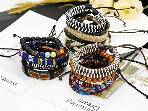 Thunaraz 15Pcs Braided Leather Bracelets for Men Women Natural Stone Wooden Beaded Bracelet Bangle Wrap Adjustable by Thunaraz (Image #3)