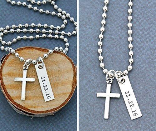 Men's Cross Necklace – DII ABC - Boys Confirmation Gift – Baptism Gift – Easter Gift Basket - Handstamped Handmade – 1 x 1/4
