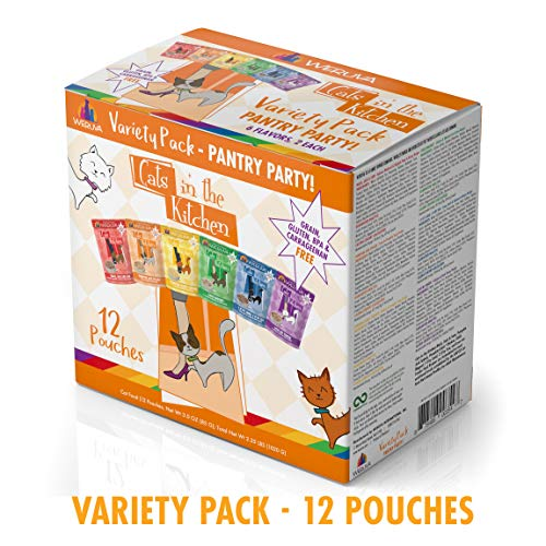 Weruva Cats in the Kitchen, Pantry Party Pouch Variety Pack in Gravy Cat Food, 3oz Pouch (Pack of 12) (Best Friends Cat Food)