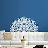 Half Mandala Wall Decal Headboard Master Yoga Studio Vinyl Sticker Decals Ornament Moroccan Pattern Namaste Lotus Flower Home Decor Boho Bohemian Wall Decal Bedroom Dorm ZX288