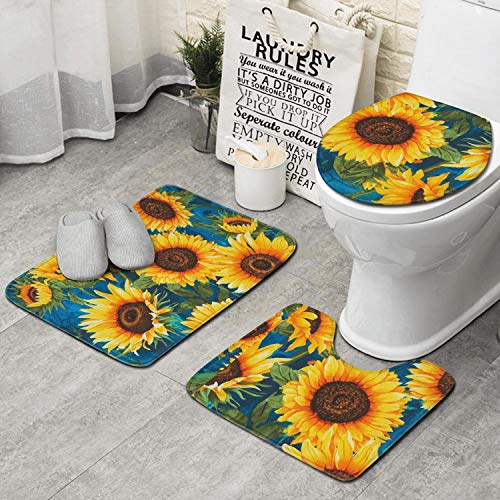 ZHIDAONNU Green Plant Sunflower Memory Foam Bath Mat, Ultra Soft Non Slip and Absorbent Bathroom Rug Set of 3 - Small/Large/Contour