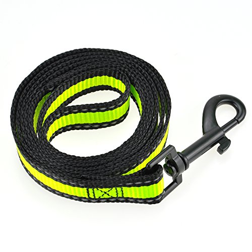 Image of Mile High Life Dog Leash | Lime Green| Reflective 3M Stripe with Nylon Band | (Lime Leash, Small Neck 12