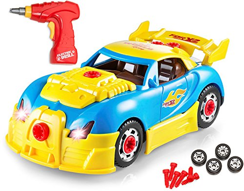 Price comparison product image Take Apart Racing Car Toys - Build Your Own Toy Car with 30 Piece Constructions Set - Toy Car Comes With Engine Sounds & Lights & Drill With Toy Tools For Kids - Newest Version - Original - By Play22