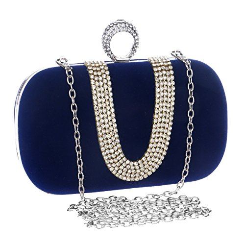 U Handbag Blue JESSIEKERVIN Bag Banquet Purse Ladies Bag Fashion Evening Clutch shaped Diamond qxq0OPU