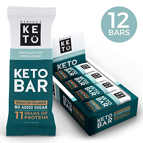 New! Perfect Keto Bar, Keto Snack, No Added Sugar. 10g of Protein, Coconut Oil, and Collagen, with a Touch of Sea Salt and Stevia. (12 Bars (1 Box), Chocolate Chip Cookie Dough)