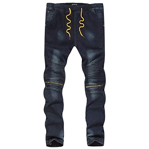 Pants,Mens KpopBaby Hole Staircase Cotton Vintage Wash Hip Hop Work Trousers Skinny Denim Jeans
