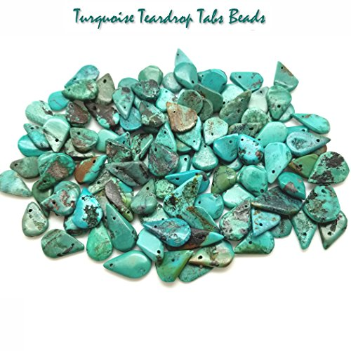 Genuine Turquoise Primitive Freeform Teardrop Beads (Package includes 30 Beads) for Jewelry Making #B (Bead Pendant Turquoise Freeform)